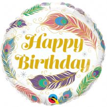 "Birthday Peacock Feathers Foil Balloon (18"") 1pc"